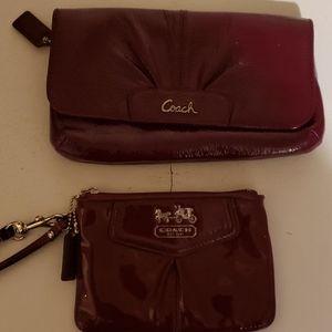 2 coach wristlet & coin purse.